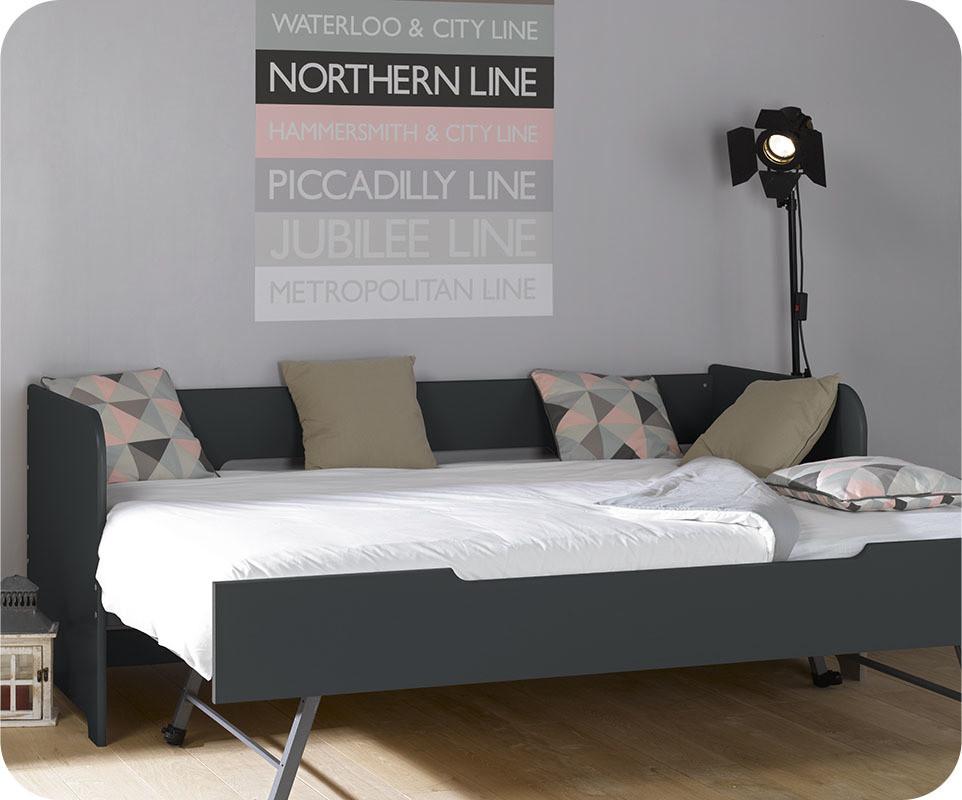 Lit banquette gigogne bali gris anthracite 80x200 cm for Despacho con sofa cama