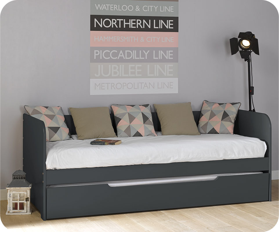 lit banquette gigogne bali gris anthracite 80x200 cm. Black Bedroom Furniture Sets. Home Design Ideas