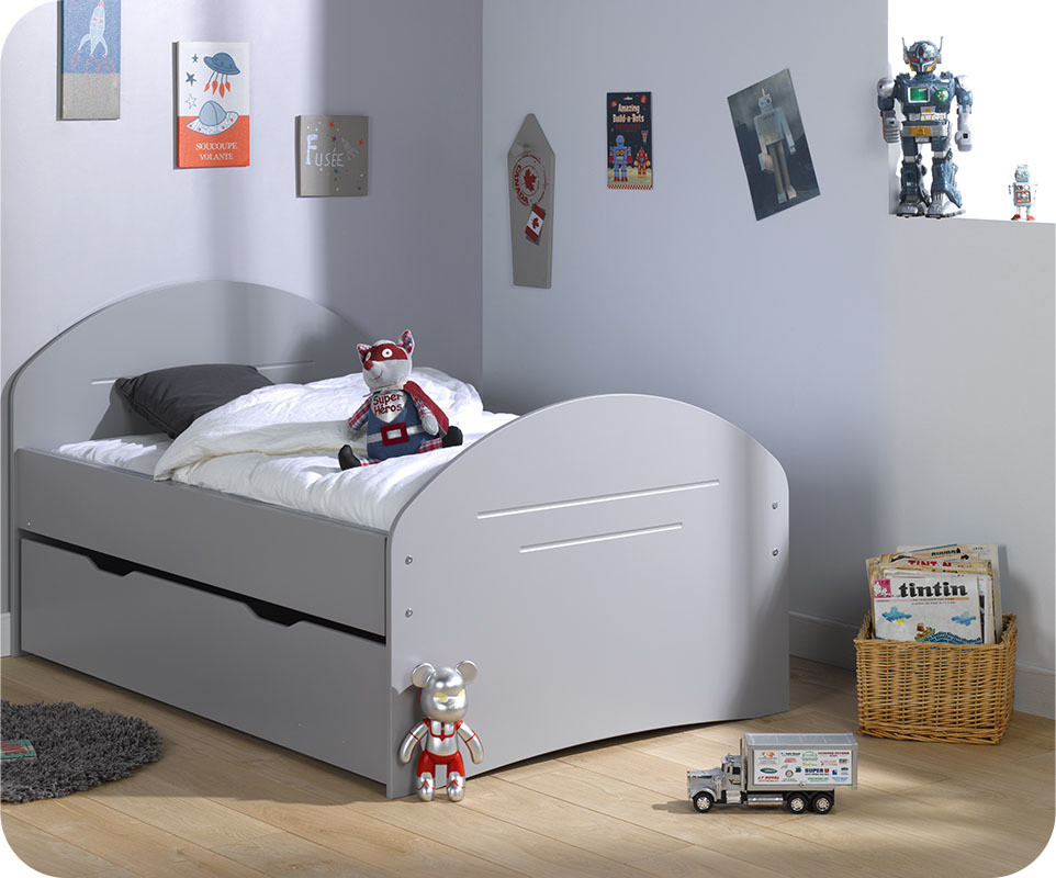lit enfant volutif spoom gris tiksy avec tiroir de lit et matelas. Black Bedroom Furniture Sets. Home Design Ideas