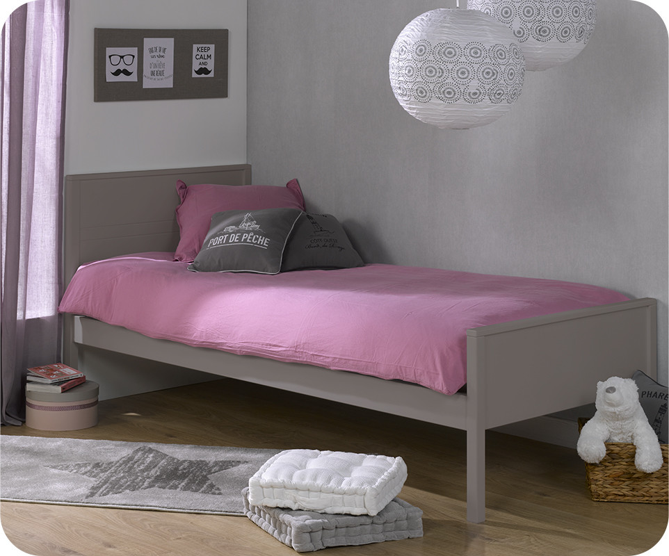 pack lit ado ines lin 90x200 cm avec sommier et matelas. Black Bedroom Furniture Sets. Home Design Ideas