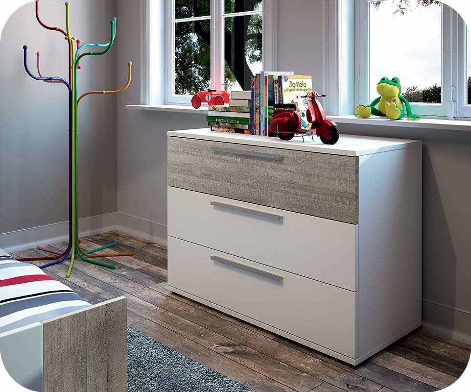 commode enfant jazz blanche et ch ne gris. Black Bedroom Furniture Sets. Home Design Ideas