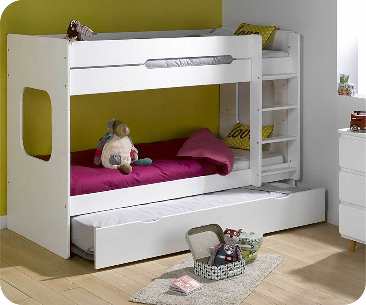 lit superpos spark blanc 90x200 cm avec sommier gigogne blanc. Black Bedroom Furniture Sets. Home Design Ideas
