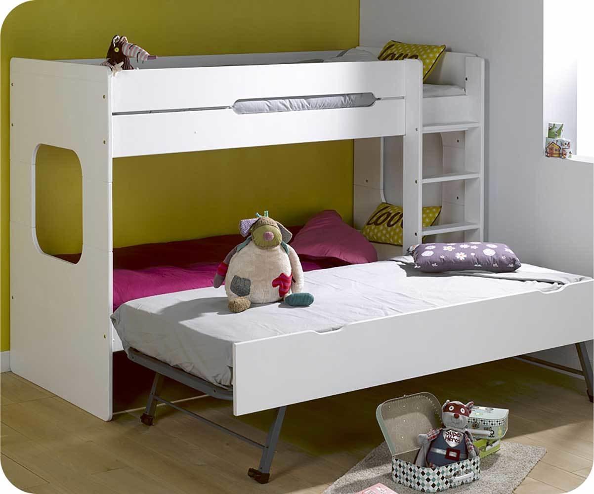 Lit superpos spark blanc 90x200 cm avec sommier gigogne blanc - Lit superpose avec lit gigogne ...