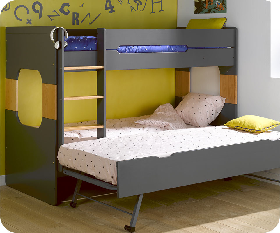lit superpos spark gris et h tre 90x200 cm avec sommier gigogne gris. Black Bedroom Furniture Sets. Home Design Ideas