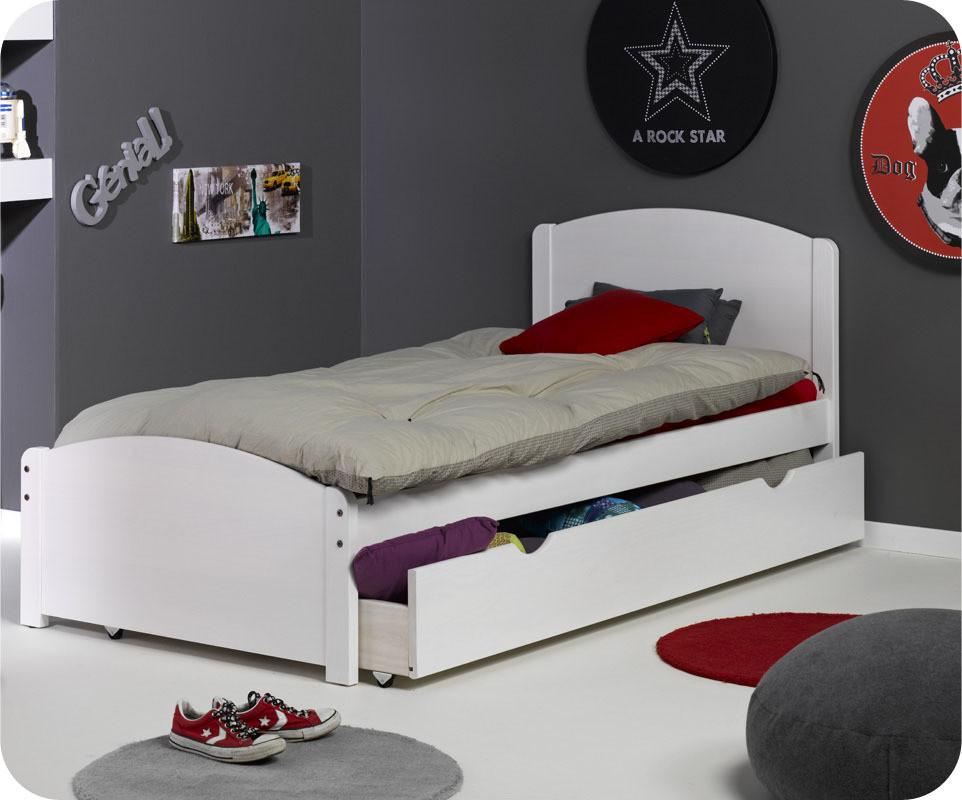 Pack lit enfant nature blanc 90x200 cm - Lit enfant avec sommier ...