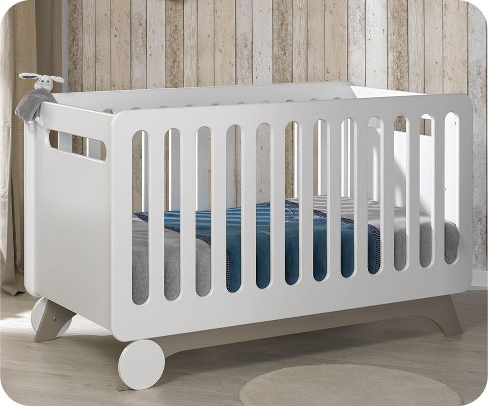 lit bébé Évolutif 70x140 cm pepper blanc lin