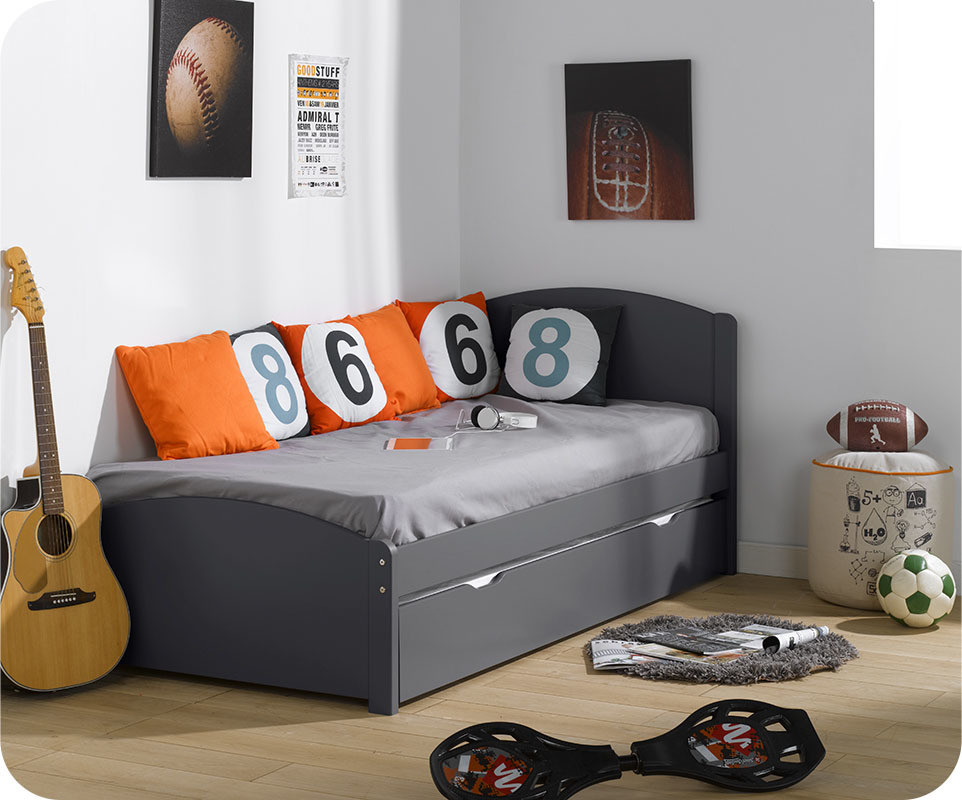 lit gigogne nature gris anthracite 90x200 cm. Black Bedroom Furniture Sets. Home Design Ideas