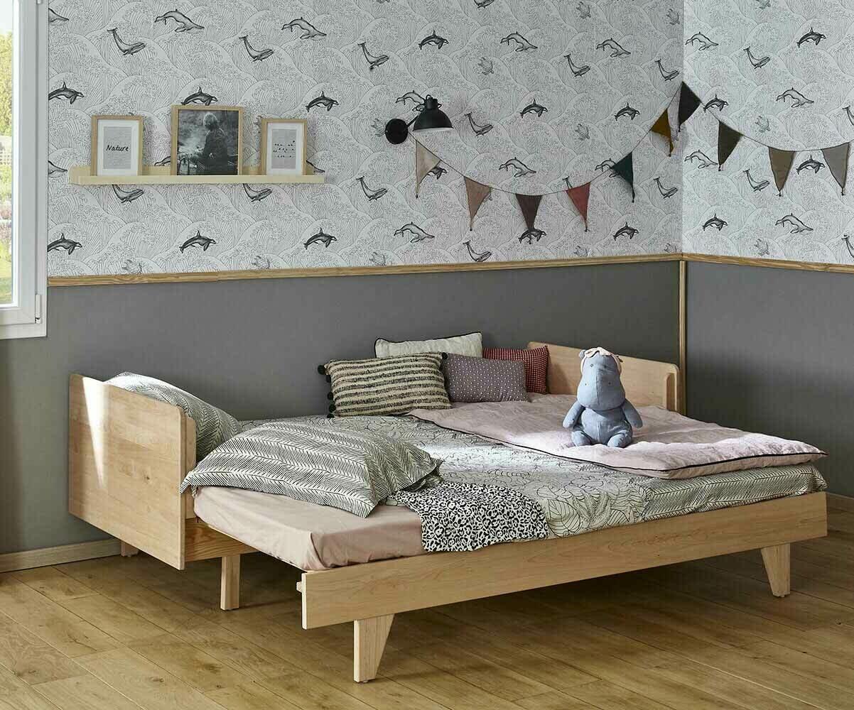 pack lit gigogne nature blanc 90x200 cm avec 2 matelas. Black Bedroom Furniture Sets. Home Design Ideas