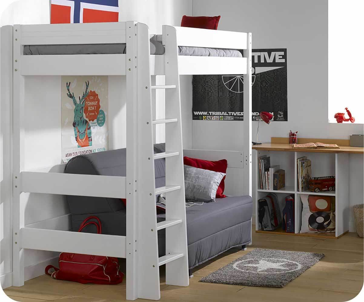lit mezzanine enfant clay blanc achat vente mobilier bois massif. Black Bedroom Furniture Sets. Home Design Ideas