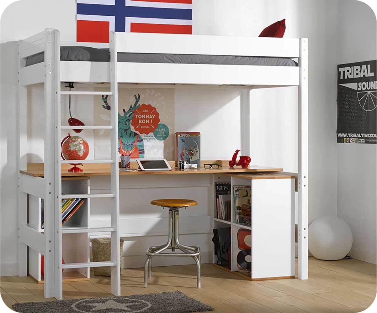 lit mezzanine enfant clay blanc achat vente mobilier bois. Black Bedroom Furniture Sets. Home Design Ideas