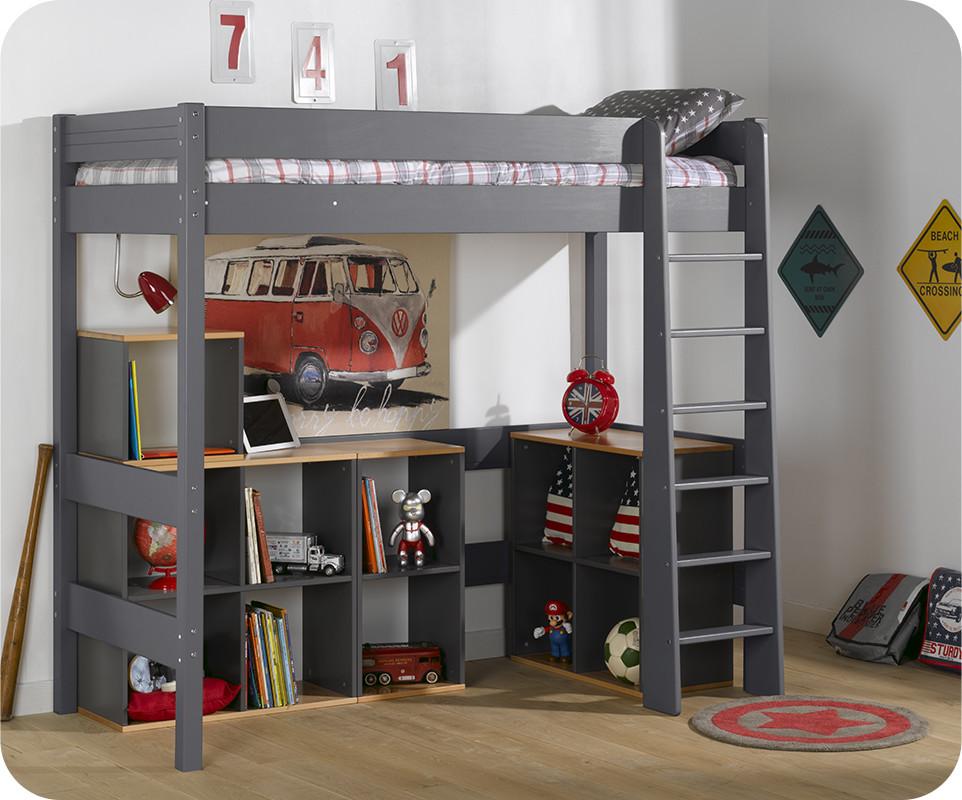 Lit mezzanine enfant clay gris achat mobilier bois massif - Lit mezzanine enfant escalier ...