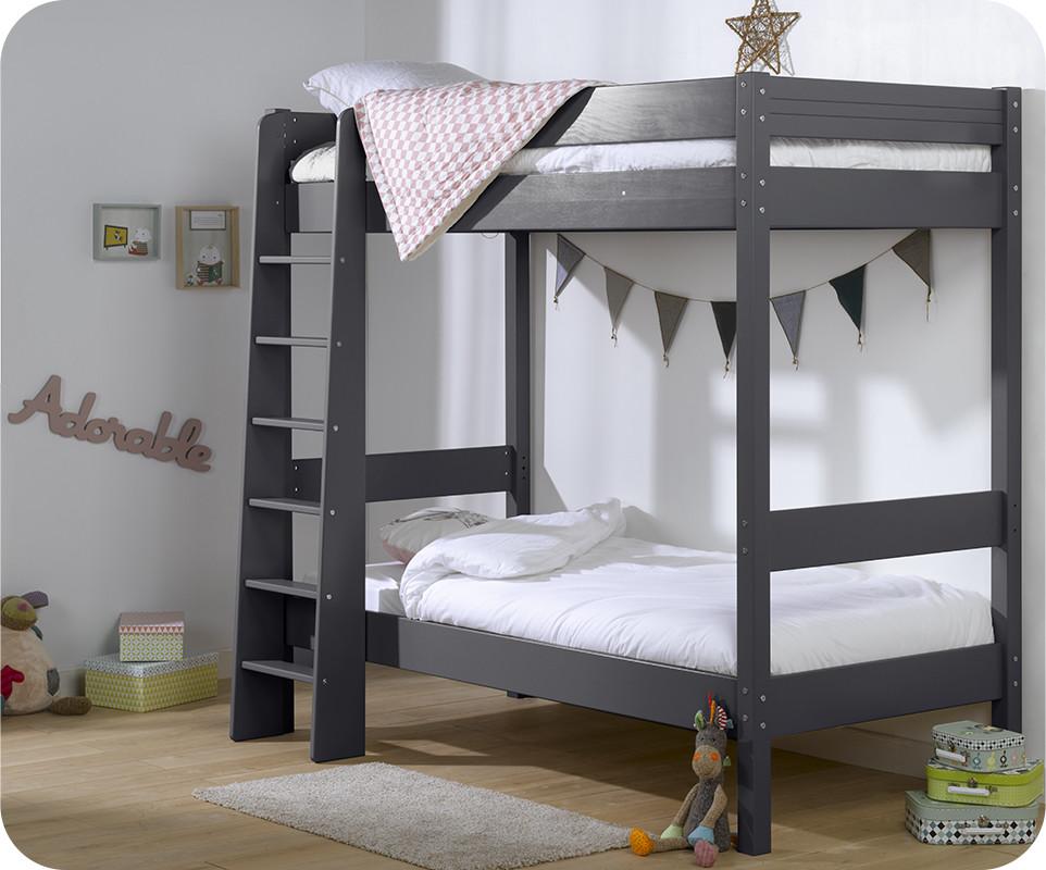 lit superpos enfant clay gris achat mobilier bois massif. Black Bedroom Furniture Sets. Home Design Ideas