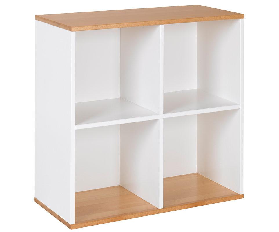 Meuble de rangement 4 cases blanc et h tre achat for Meuble de rangement chambre