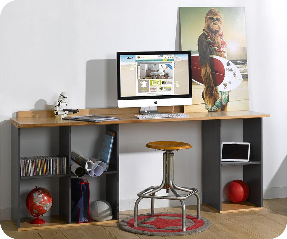 Ventes aux enchères bureau d angle plateau en bois de couleur