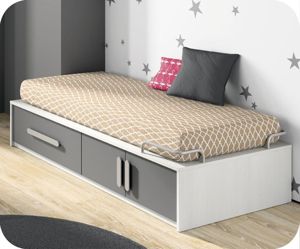 lit enfant planet blanc et gris anthracite avec rangements. Black Bedroom Furniture Sets. Home Design Ideas