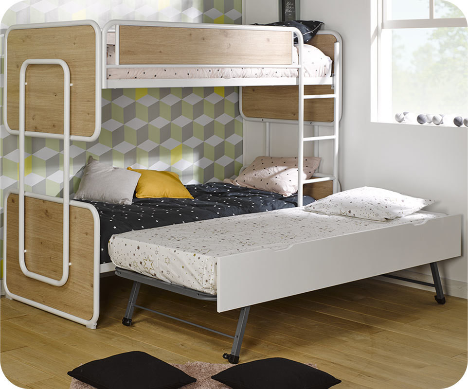 lit superpos enfant spiral blanc et ch ne 90x200 cm. Black Bedroom Furniture Sets. Home Design Ideas