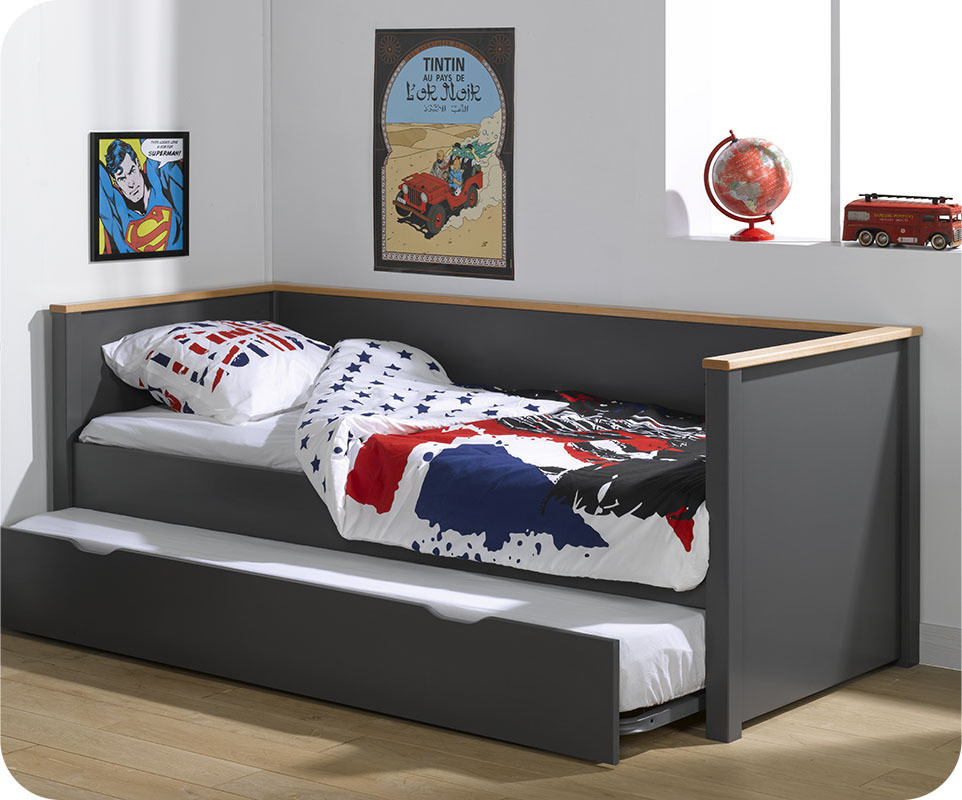 lit gigogne nova gris anthracite et h tre 80x200 cm. Black Bedroom Furniture Sets. Home Design Ideas