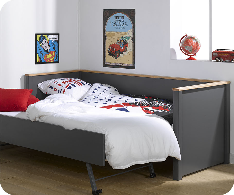 lit gigogne nova gris anthracite et h tre 80x200 cm avec 2. Black Bedroom Furniture Sets. Home Design Ideas