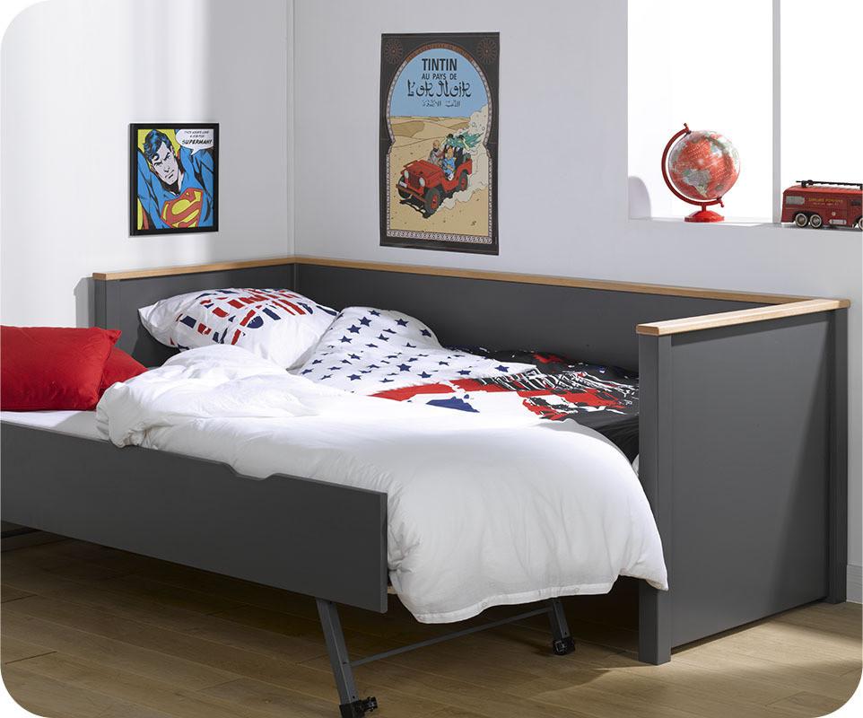 Lit gigogne nova gris anthracite et hetre 80x200 cm avec 2 for Amenagement chambre ado avec matelas renault 80x200
