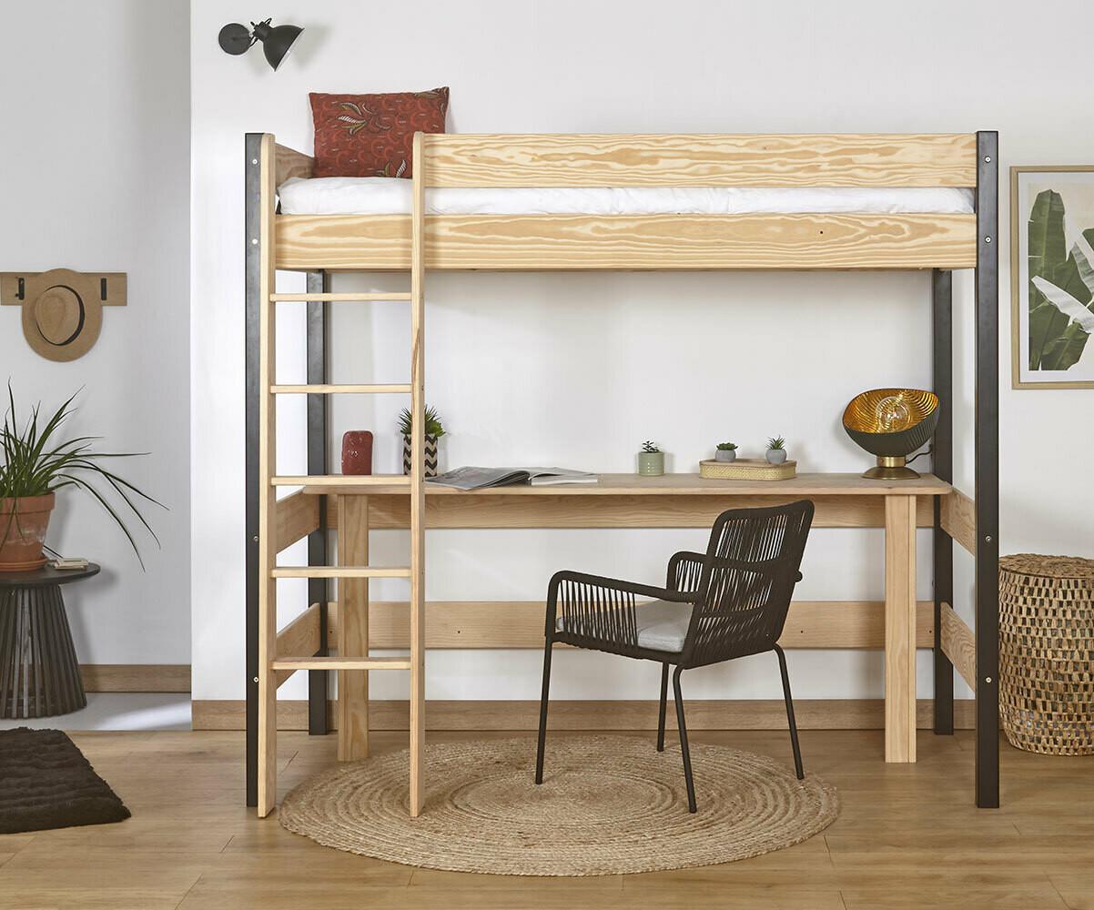 Lit mezzanine clay blanc avec bureau - Lit enfant avec bureau ...