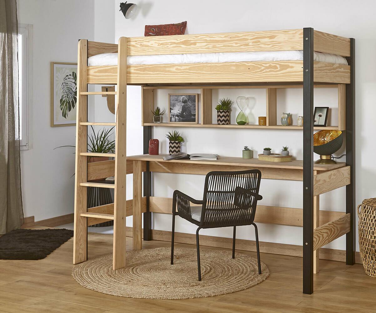 Lit mezzanine clay blanc avec bureau - Lit superpose avec bureau integre conforama ...
