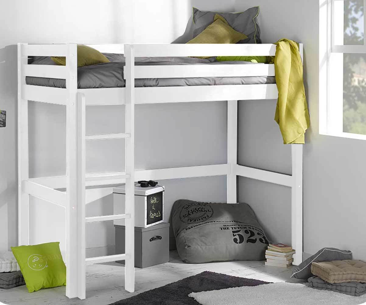 Lit enfant mezzanine cargo blanc 90x190 cm - Lit mezzanine pour enfant ...