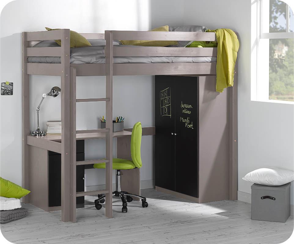 Lit enfant mezzanine cargo lin 90x190 cm - Camas altas con armario debajo ...