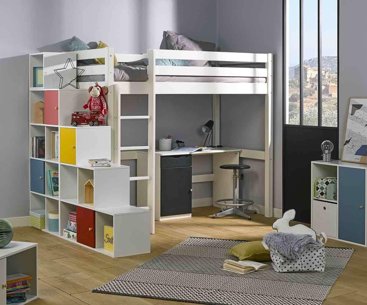 Lit Mezzanine Escalier Cube lit enfant mezzanine avec matelas - cargo