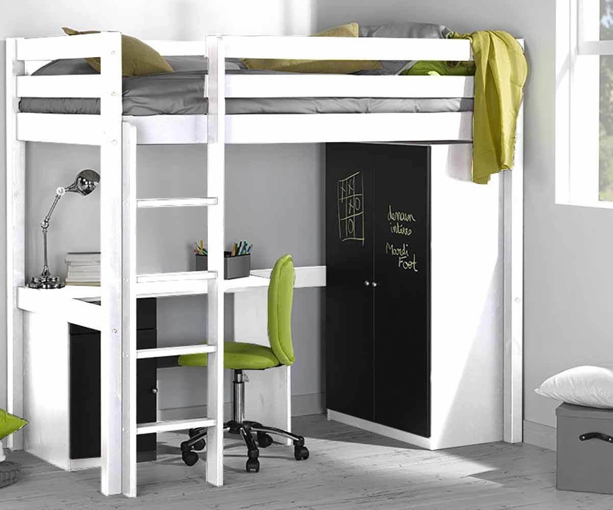 pack lit enfant mezzanine cargo blanc 90x190 cm. Black Bedroom Furniture Sets. Home Design Ideas