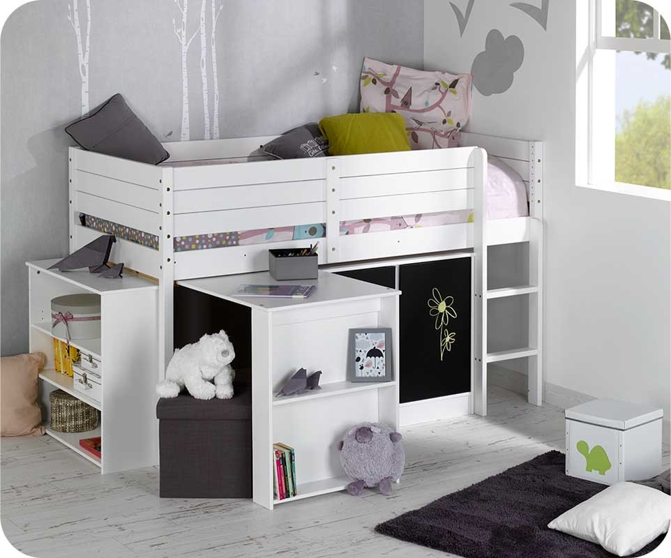 set lit enfant mi hauteur tamis blanc. Black Bedroom Furniture Sets. Home Design Ideas