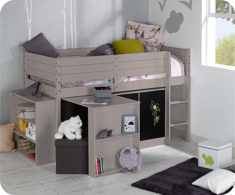 set lit enfant mi hauteur tamis lin. Black Bedroom Furniture Sets. Home Design Ideas