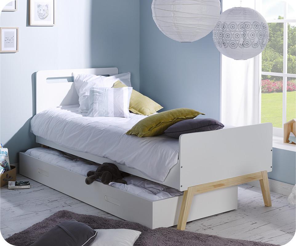 pack lit enfant gigogne songe blanc et bois 90x200 cm. Black Bedroom Furniture Sets. Home Design Ideas