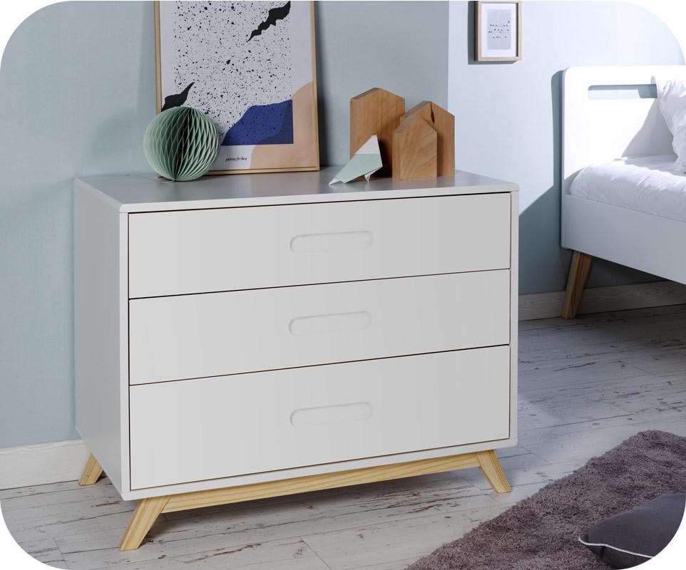 Chambre enfant songe blanche et bois set de 3 meubles - Destockage meuble chambre ...