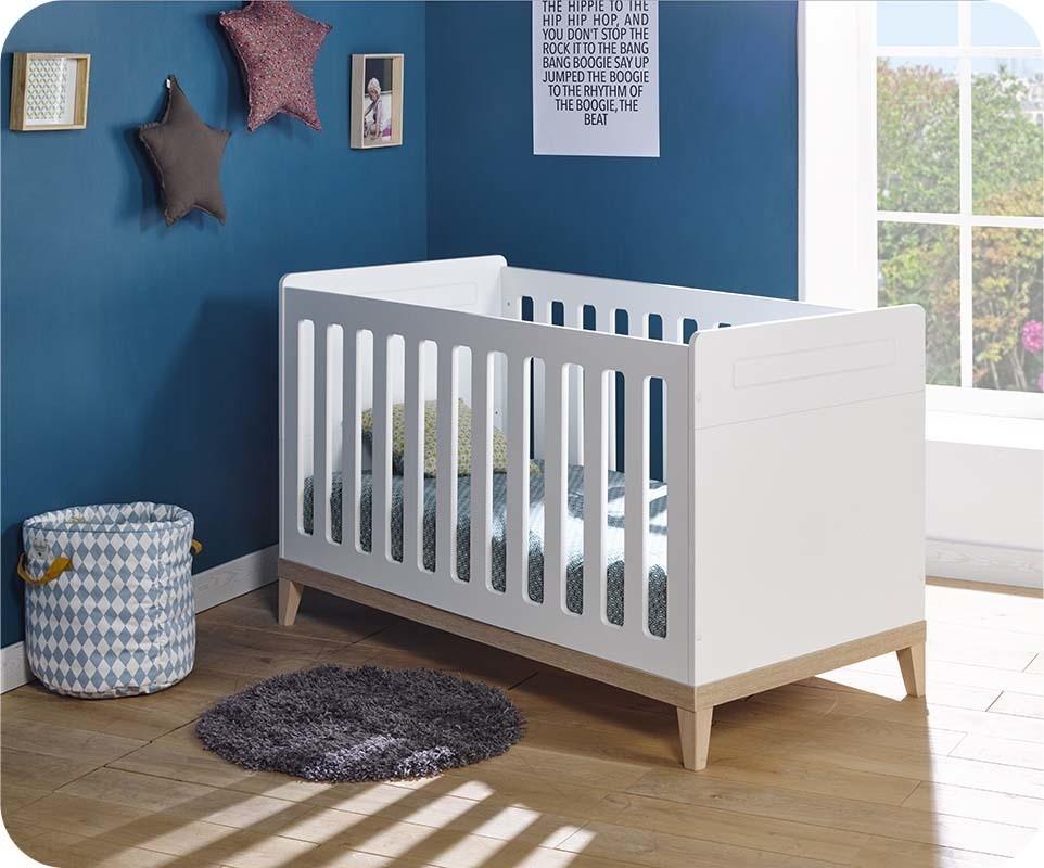 lit b b volutif riga blanc et bois avec matelas b b. Black Bedroom Furniture Sets. Home Design Ideas