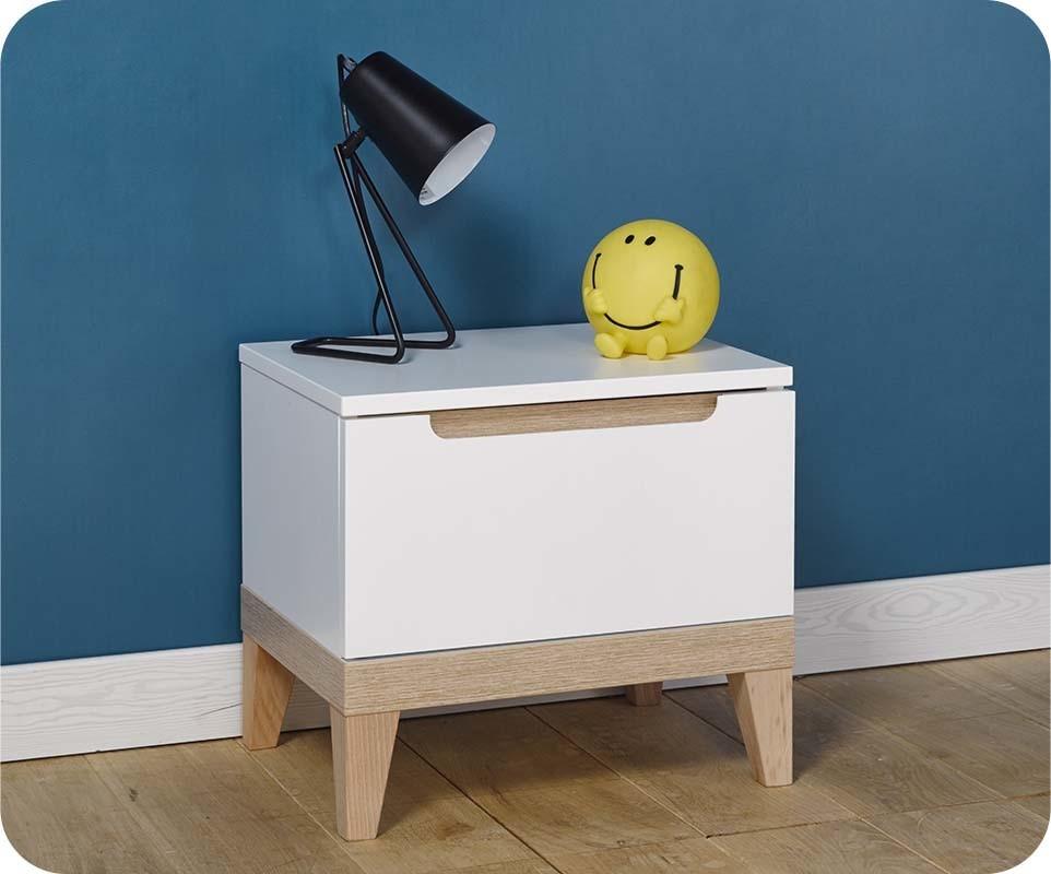 chevet enfant riga blanc et bois mobilier qualit made. Black Bedroom Furniture Sets. Home Design Ideas