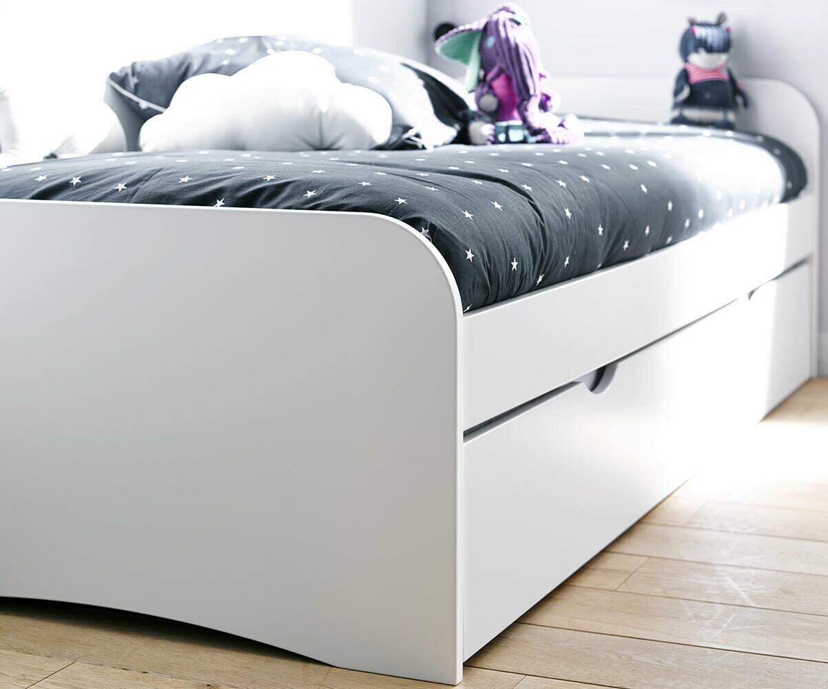 pack lit enfant gigogne twist blanc 90x190 cm avec 2 matelas. Black Bedroom Furniture Sets. Home Design Ideas