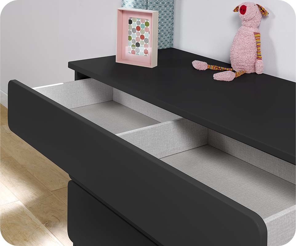 Chambre enfant twist gris anthracite set de 3 meubles - Commode gris anthracite ...