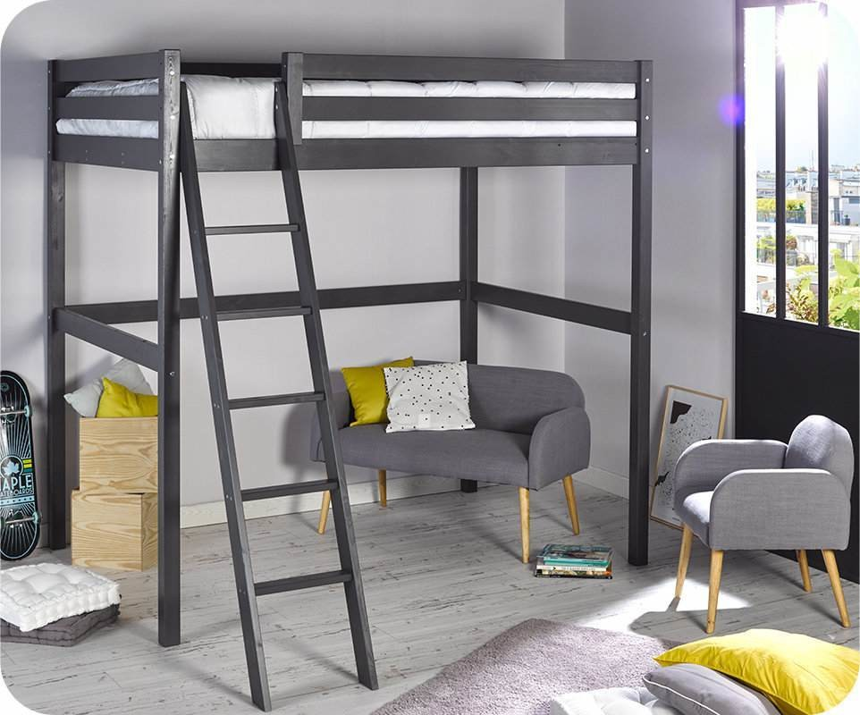 lit enfant mezzanine cargo gris anthracite 140x200 cm. Black Bedroom Furniture Sets. Home Design Ideas