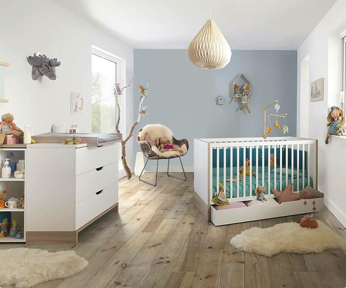 Mini chambre b b plume blanche et bois - Chambre enfant marin ...