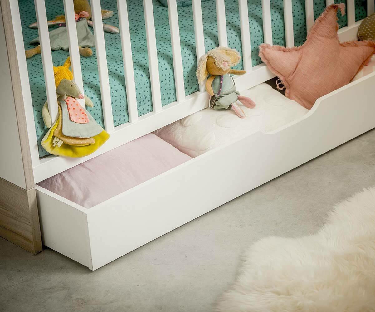 Lit b b volutif plume blanc et bois avec matelas - Destockage lit enfant ...