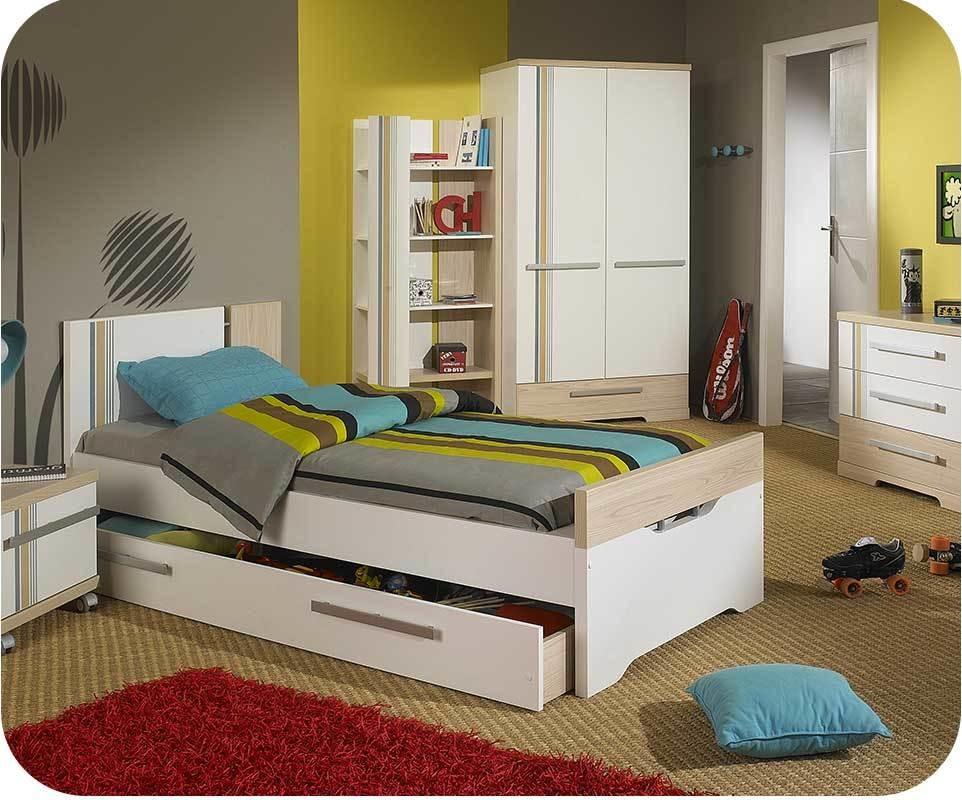 pack lit enfant bora blanc et bois 90x190 cm avec sommier et matelas. Black Bedroom Furniture Sets. Home Design Ideas