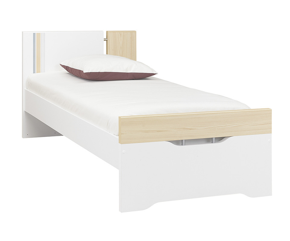 pack lit enfant bora blanc et bois 90x200 cm avec sommier et matelas. Black Bedroom Furniture Sets. Home Design Ideas