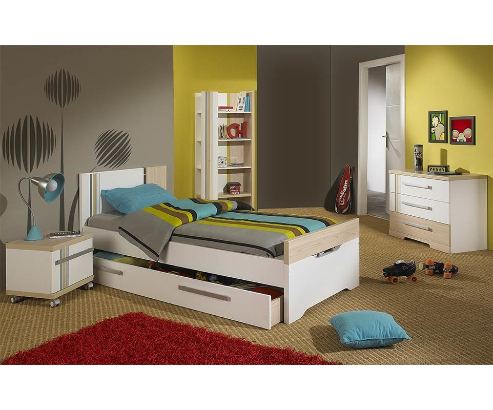 chambre enfant bora blanche et bois set de 4 meubles. Black Bedroom Furniture Sets. Home Design Ideas