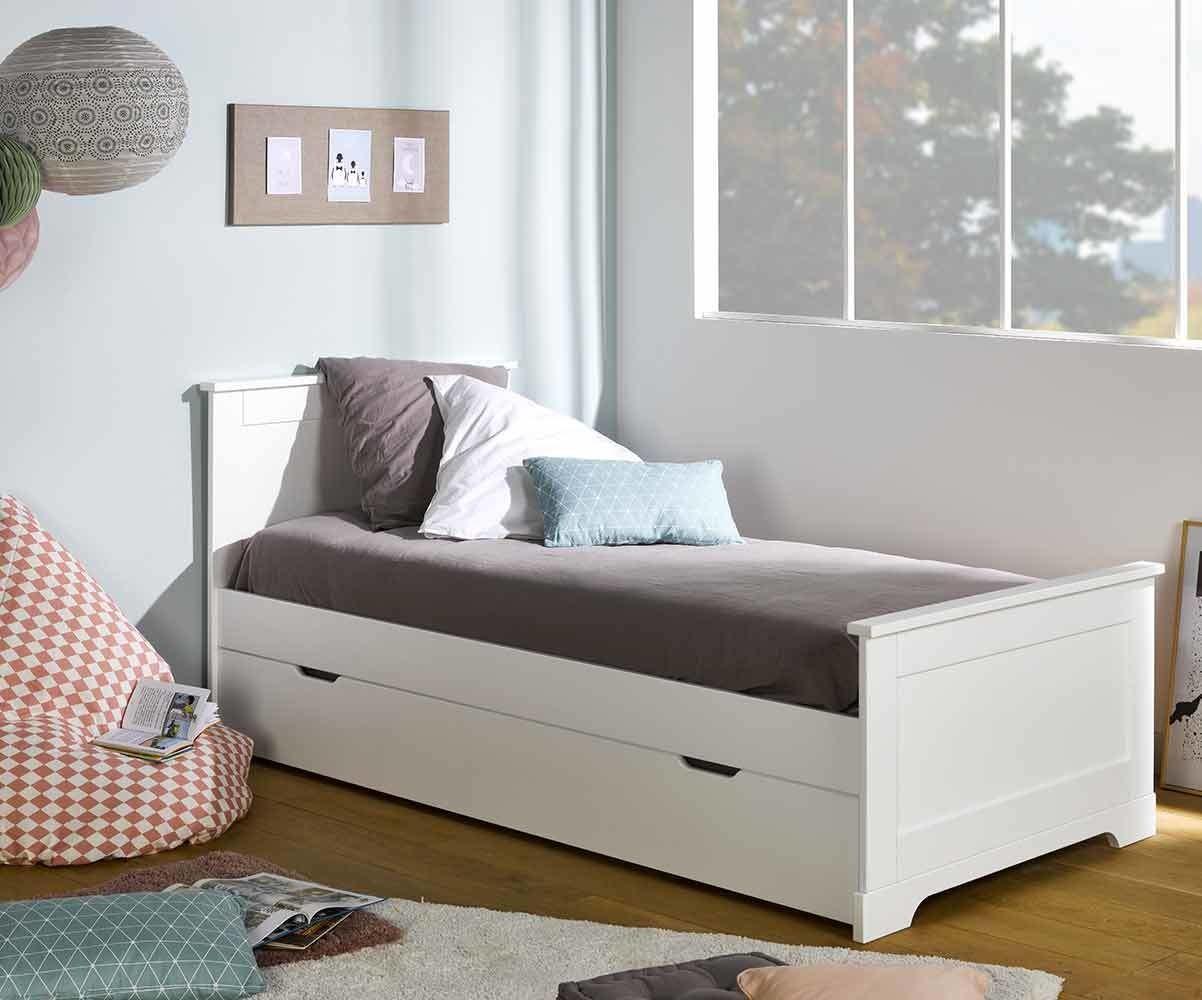 pack lit enfant gigogne mel blanc 90x190 cm avec sommier et matelas. Black Bedroom Furniture Sets. Home Design Ideas