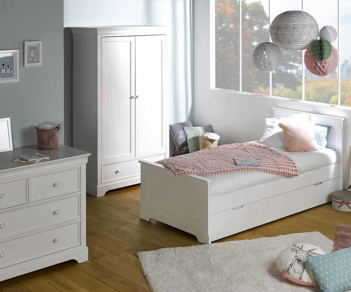 chambre enfant mel blanche set de 3 meubles. Black Bedroom Furniture Sets. Home Design Ideas