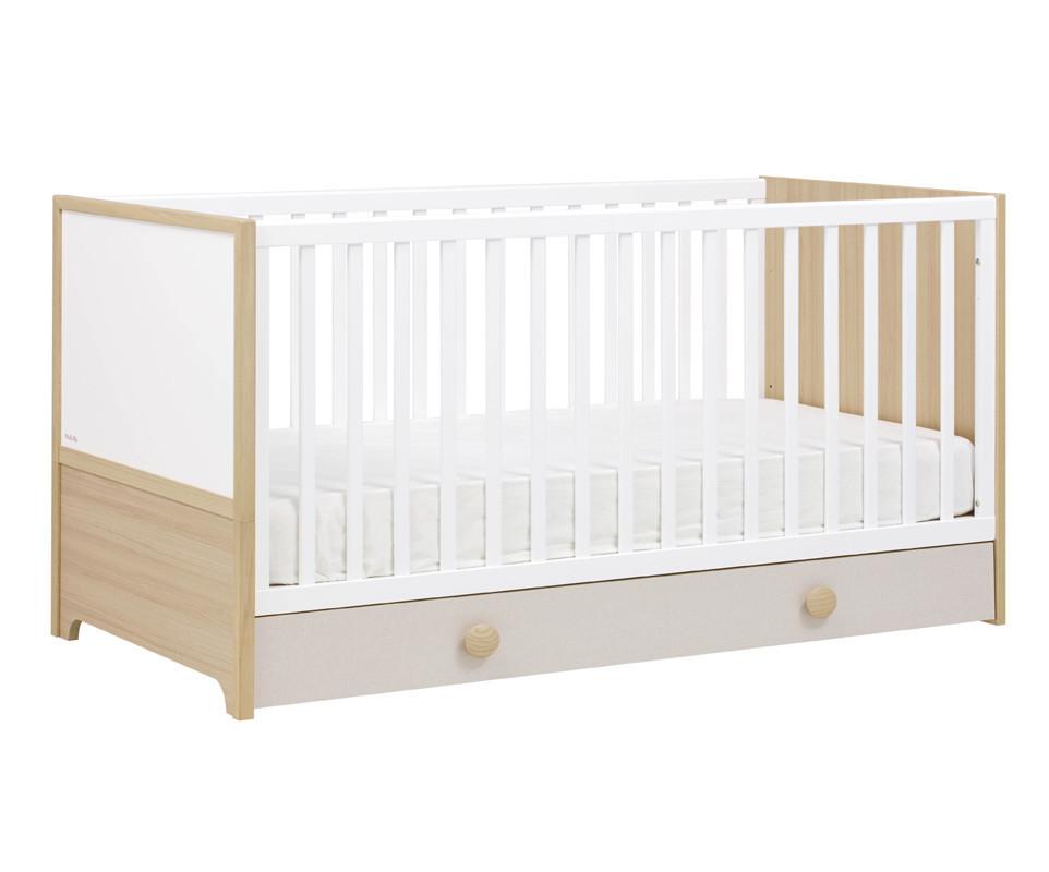 lit b b volutif ol bois et blanc avec matelas. Black Bedroom Furniture Sets. Home Design Ideas
