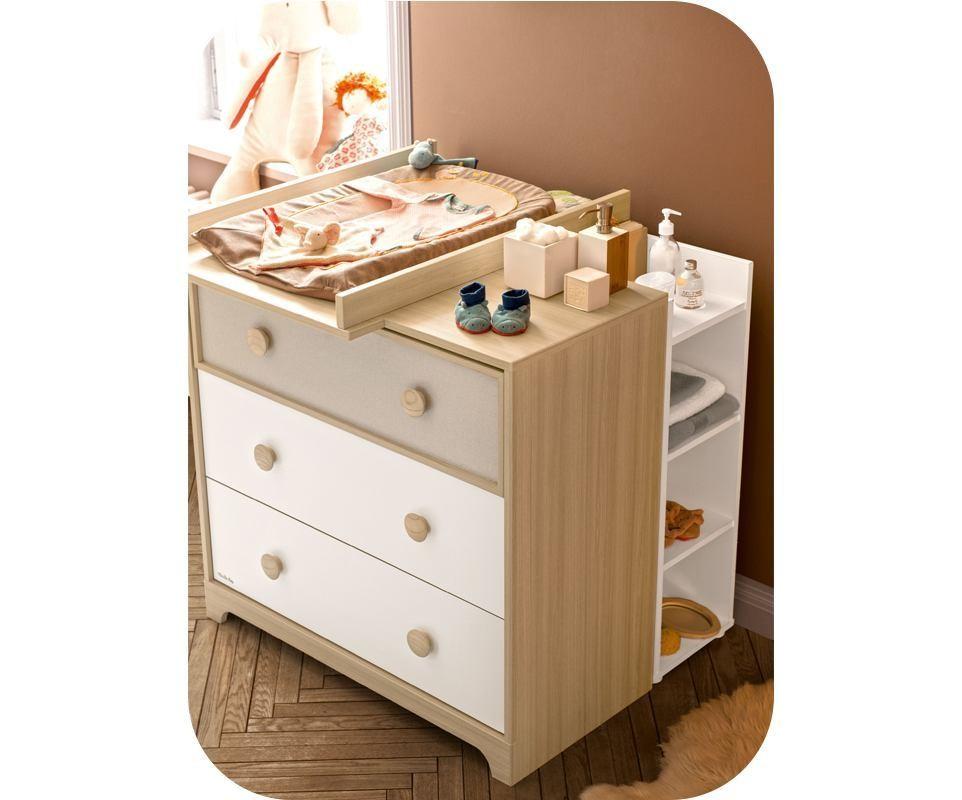 commode b b ol bois et blanche. Black Bedroom Furniture Sets. Home Design Ideas