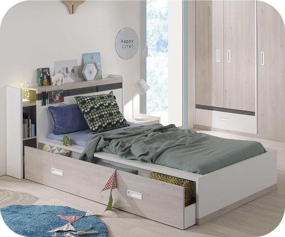 lit enfant ilo blanc et bois 90x200 cm avec tte de lit - Tete De Lit Enfant