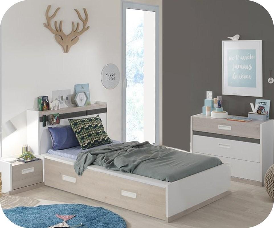 pack lit enfant ilo blanc et bois 90x200 cm avec sommier et matelas et tte de - Tete De Lit Enfant