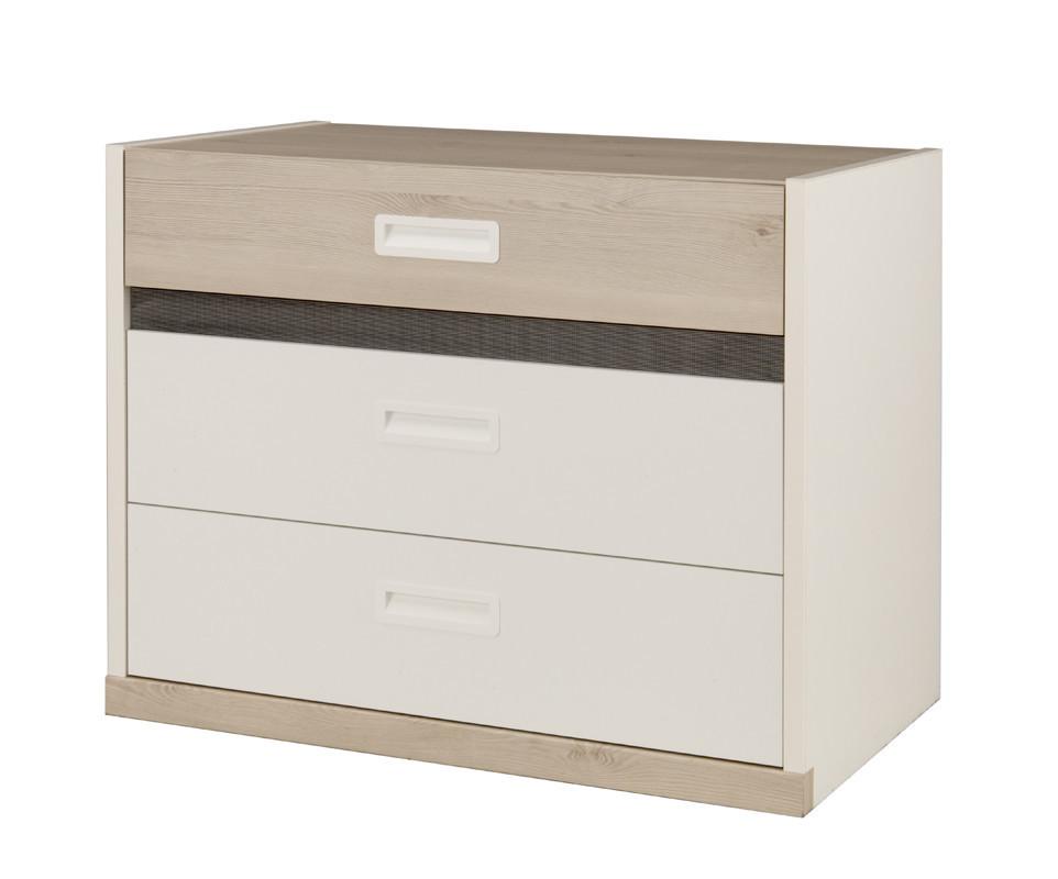 commode enfant il o blanche et bois. Black Bedroom Furniture Sets. Home Design Ideas